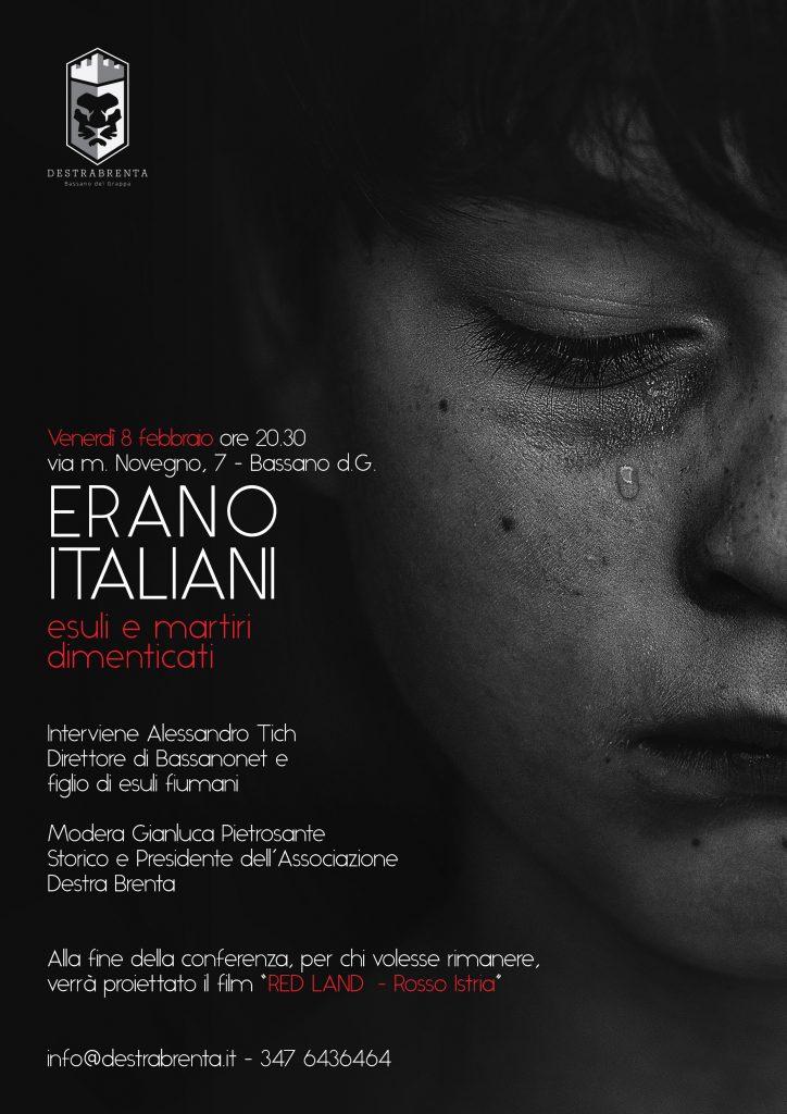 Destra Brenta - associazione culturale - Bassano del Grappa - Erano Italiani - esuli e martiri dimenticati
